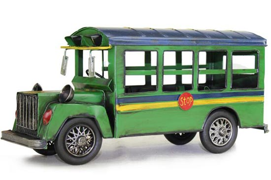 Green / Blue Large Scale Tinplate Vintage School Bus Model