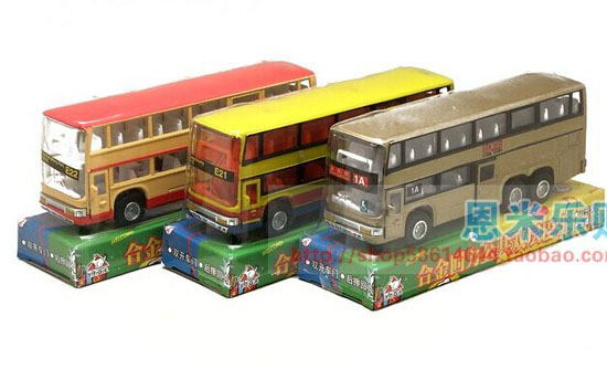 Kids Red / Yellow / Golden Die-Cast Hong Kong Double-Decker Bus