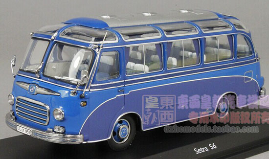 Blue 1:43 Scale SCHUCO Die-Cast 1955 Setra S6 Bus Model