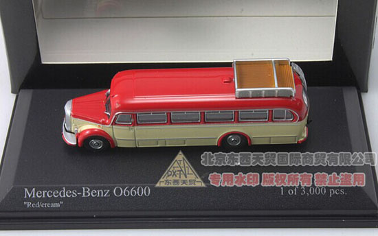 Red-Yellow 1:160 Minichamps 1950 Mercedes-Benz O6600 Bus Model