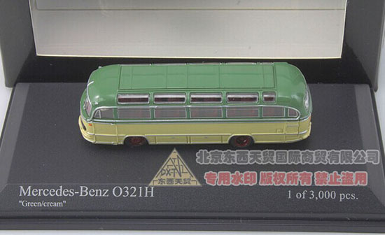 Green-Yellow 1:160 Mini Scale 1957 Mercedes-Benz O321H Bus Model