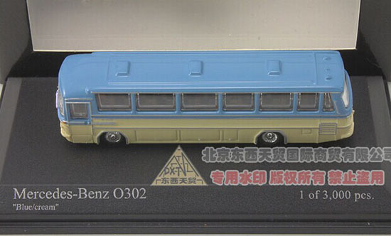 Blue-Yellow 1:160 Die-Cast 1965 Mercedes-Benz O302 Bus Model