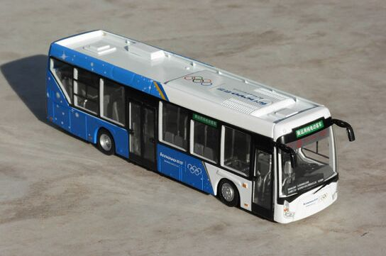 1:64 Scale Blue-White Die-Cast Beijing 2008 Olympics Bus Model