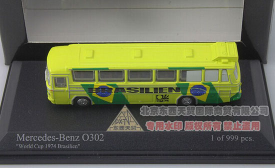 Yellow 1:160 Minichamps Die-Cast 1974 Mercedes-Benz O302 Bus