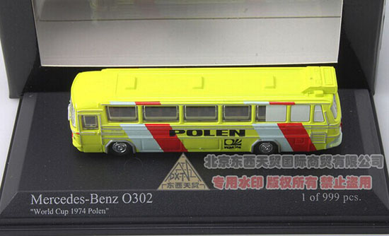1:160 Minichamps Yellow Die-Cast 1974 Mercedes-Benz O302 Bus