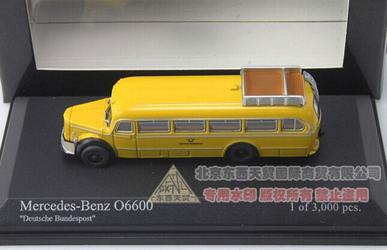 Yellow 1:160 Mini Scale Die-Cast 1950 Mercedes-Benz O6600 Bus