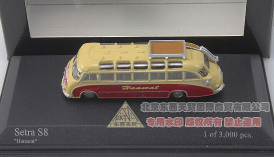 Yellow 1:160 Mini Scale Die-Cast 1953 SETRA S8 HANSEAT Bus