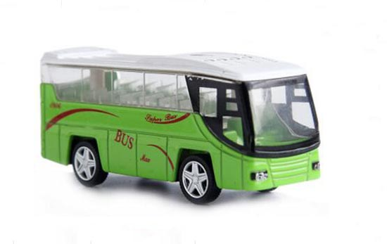 Kids 1:64 Scale White / Green Die-Cast Tour Bus Toy