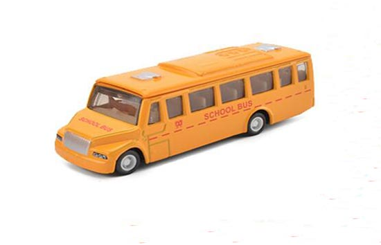 Kids Yellow 1:64 Scale Pull-Back Function DieCast School Bus Toy