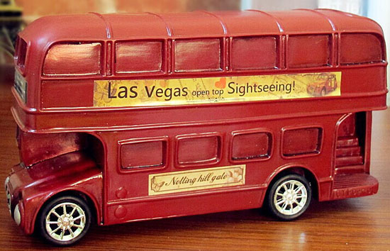 Kids Green / Red London Double Decker Bus Saving Box Toy