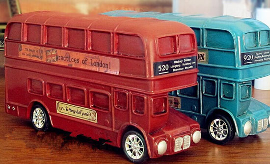 kids green red london double decker bus saving box toy. Black Bedroom Furniture Sets. Home Design Ideas