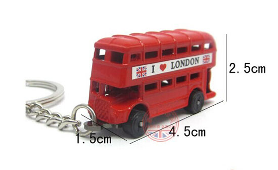 Red Mini Scale Key Chain London Double Decker Bus Toy