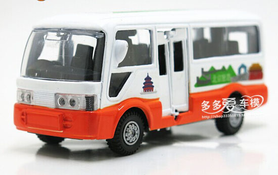 Pull-Back Function Kids White-Orange Die-Cast BeiJing Tour Bus
