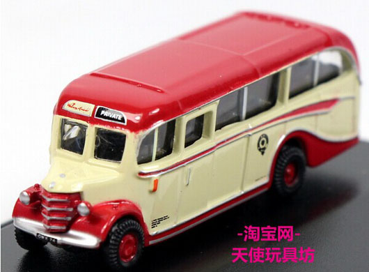 Mini Scale White-Red Oxford Die-Cast Bedford OB Bus Model