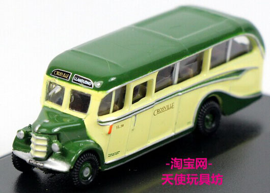 White-Green Mini Oxford Die-Cast Colville Bedford OB Bus Model