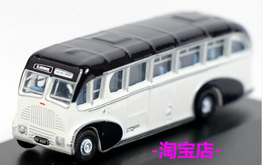 White Mini Scale Oxford Die-Cast Burlingham Sunsaloon Bus Model