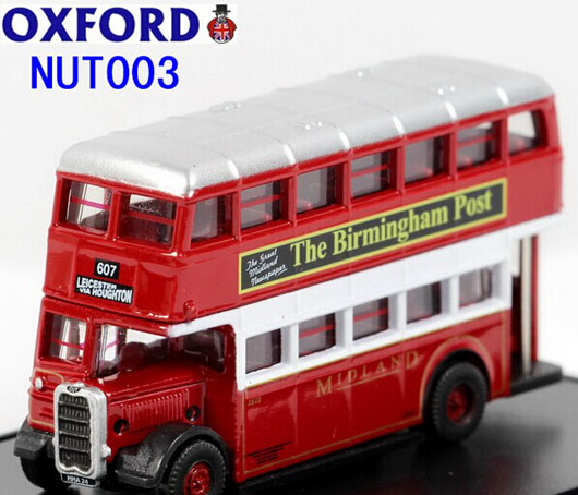 Mini Scale Red Oxford Birmingham Post Double Decker Bus Model