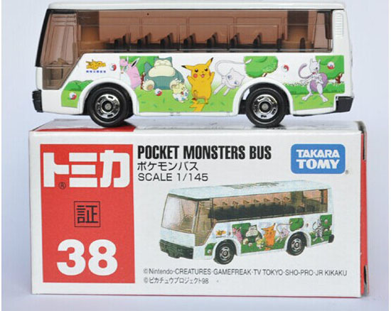Mini Scale Colorful TOMY Pocket Monster Die-Cast Bus Toy