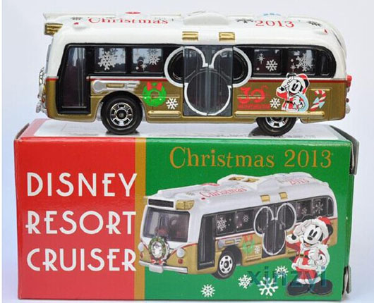 TOMY Mini Scale White-Golden 2013 Christmas Die-cast Bus Toy