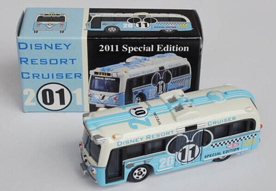 Mini Scale White-Blue TOMY 2011 Special Edition Die-Cast Bus Toy