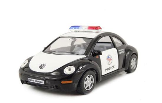 White-Black Kids 1:36 Scale Police Die-Cast VW New Beetle Toy