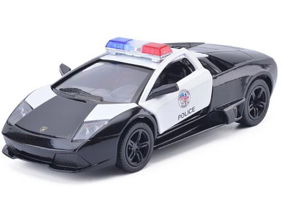 Kids 1:36 Scale White-Black Diecast Lamborghini Police Car Toy