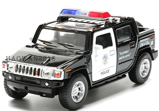 White-Black Kids 1:40 Police Diecast Hummer H2 Pickup Truck Toy