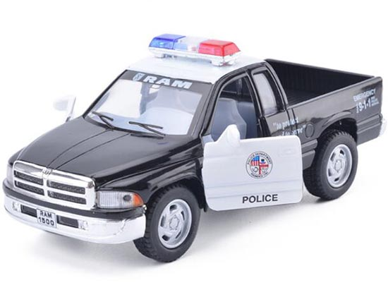White-Black 1:36 Scale Police Diecast Dodge RAM Pickup Truck Toy