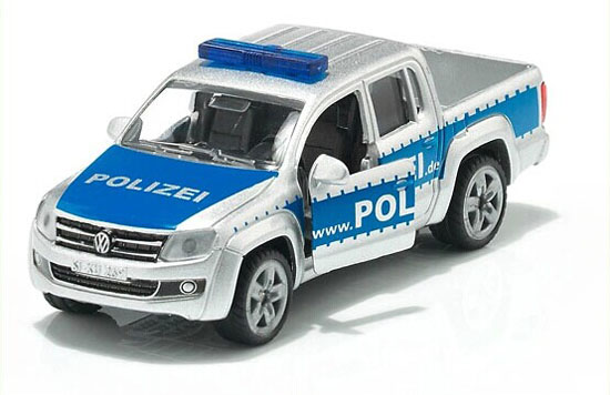 Mini Blue-Silver SIKU 1406 Die-Cast VW Police Pickup Truck Toy