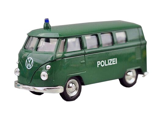 Green 1:36 Scale Kids Welly Police Die-Cast 1962 VW Bus Toy