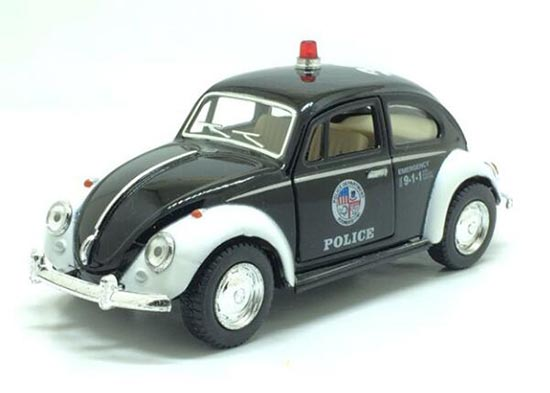 Kids Black-White 1:36 Scale Police Theme Diecast 1967 VW Beetle