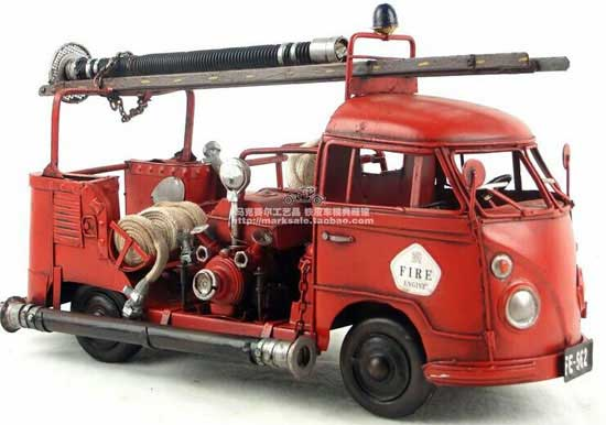 Red Large Tinplate Vintage 1956 VW Fire Fighting Truck Model