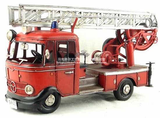 Red Large Scale Tinplate 1998 VW Fire Fighting Truck Model