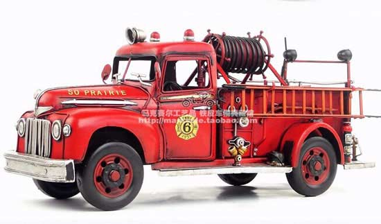 Red Large Scale Tinplate Vintage 1946 Ford Fire Fighting Truck