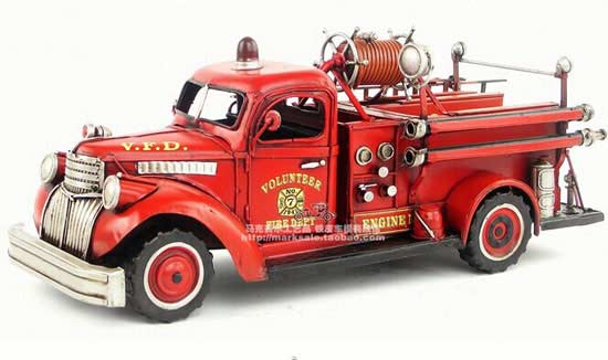 Red Large Scale Vintage 1941 Chevrolet Fire Fighting Truck Model