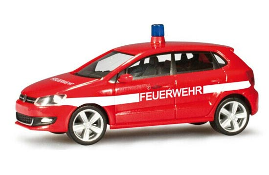 Red 1:87 Scale Herpa Fire Fighting VW Polo Model