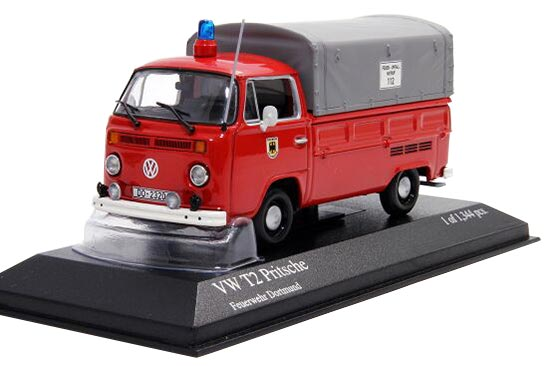 Red 1:43 Scale Fire Fighting Die-Cast VW T2 Pritsche Model
