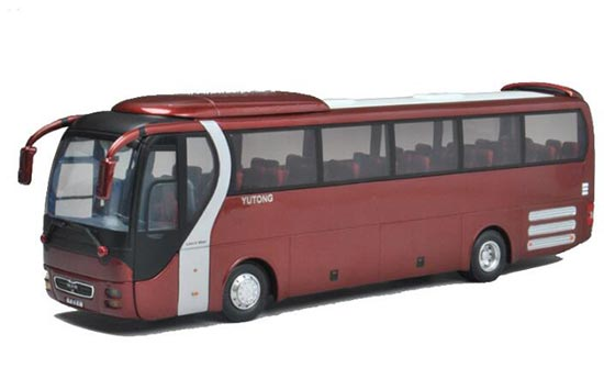 Wine Red 1:43 Scale Die-Cast YuTong LION'S STAR Bus Model
