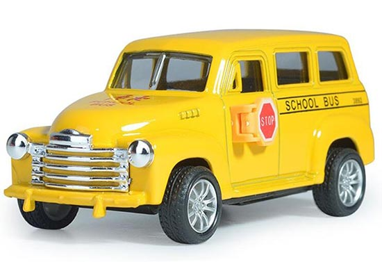Kids Bright Yellow Pull-Back Function Die-Cast School Bus Toy