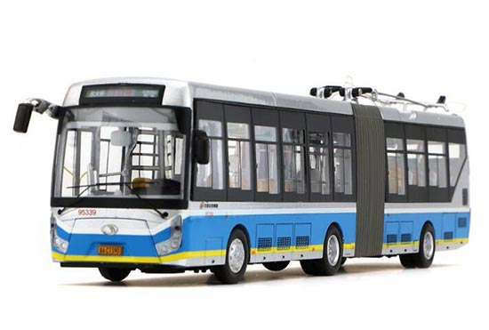 White 1:64 Diecast Articulated BeiJing NO.109 Trolley Bus Model