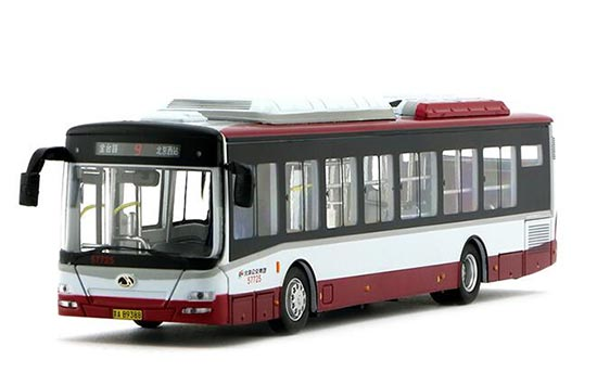White-Red 1:64 Scale NO.9 Die-Cast BeiJing Bus Model