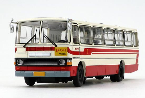 White-Red 1:64 Scale NO.351 Die-Cast BeiJing Bus Model