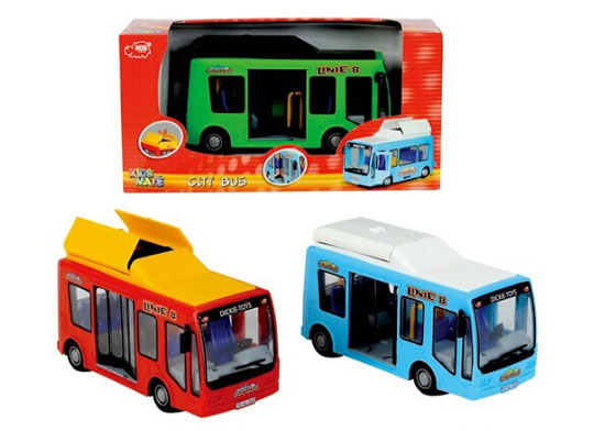 Kids 1:32 Scale Dickie Plastics Red / Green / Blue City Bus Toy