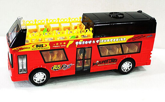 Red Kids Plastic City Sightseeing Electric Double Decker Bus Toy