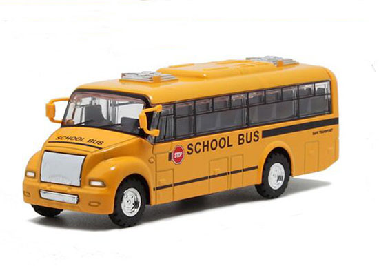 Pull-back Function Kids Yellow 1:32 Scale Diecast School Bus Toy