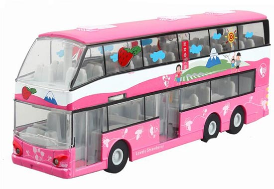 Kids Pink Pull-Back Function Lovely Strawberry Double Decker Bus