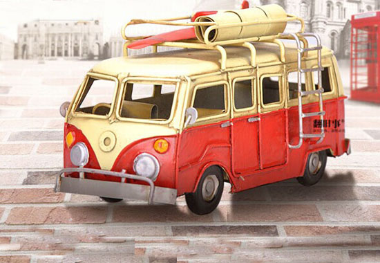 Red Small Size Tinplate Vintage VW Bus Model