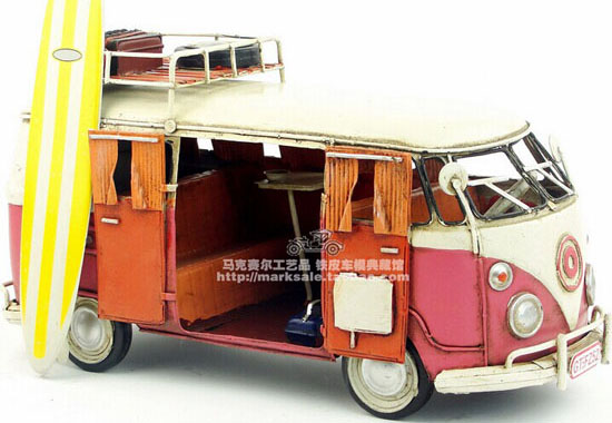 Medium Size Red-White Tinplate Vintage 1966 VW Bus Model