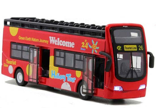 Kids 1:32 Red / Yellow / Green Sightseeing Double Decker Bus Toy