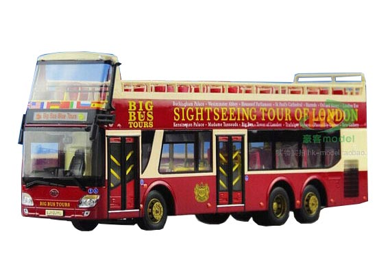 Wine Red 1:43 Scale Die-Cast AnKai Sightseeing Double Dekcer Bus